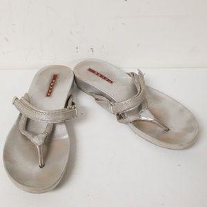 Prada Sliver Velcro Strap Slide On Sandals